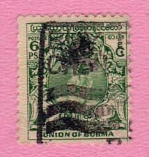 BIRMANIE - Union of BURMA - 1949 - N° 34 6 p. vert - oblitéré