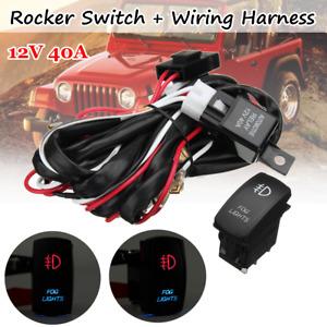 40A LED Car Fog Light Laser Rocker On/Off Switch Wiring Loom Harness Rela /