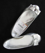 NWT Gymboree Shimmer & Twirl Silver Shoes Sz 12 Ballet Flats Bow Gem Holiday