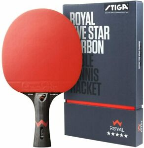 Stiga Royal 5-Star Pro Carbon Table Tennis Racket Ping Pong Bat Paddle Black Red