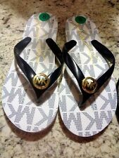 Michael Kors Black Navy or (Milk) White MK Jet Set Print Rubber Jelly Flip Flops