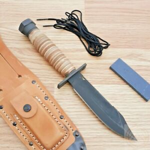 """Ontario Air Force Survival 2nd Fixed Knife 5"""" Carbon Steel Blade Leather Handle"""