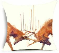 Stags deer fighting moor heath highlands Cushion Cover  45cm painting