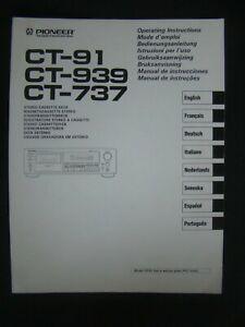 Bedienungsanleitung für Pioneer CT-91, CT-939, CT-737, Operating Instructions