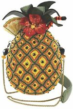 MARY FRANCES Fun in the Sun Beaded Pineapple Drink Yellow Bag Straw Handbag New