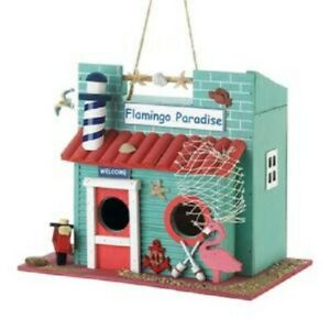 FLAMINGO PARADISE BIRDHOUSESeafoam blue, navy and bright coral hues, wood, new