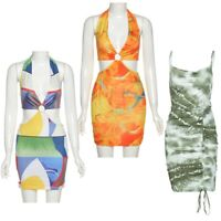 Womens Sexy Lace-up Halter Backless Print Beach Dress Cutout Bodycon Party Dress