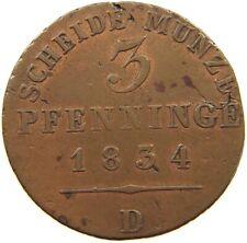 GERMAN STATES 3 PFENNIG 1834 D PREUSSEN #a22 365