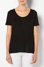 WITCHERY sz M (or 12 )  womens black woven Petal back Tee - top [#4397]