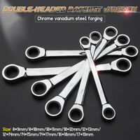Double-head Hand Wrench Tool Kit Reversible Ratchet Set Lug Nut Socket Spanner