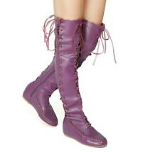 Gladiator Womens Lace Up Over the Knee High Boots Retro  Flats Tassel Shoes SZ L