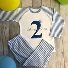PERSONALISED BIRTHDAY PYJAMAS Blue White Stripe PJs Blue Number with Silver Name