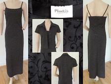 2er Set Pimkie Kleid Maxi Festlich Samt Träger Strukturiert Schwarz + Jacke S 36