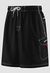 "$85 Speedo Men's Black Quick Dry Performance Marina 9"" Swim Trunks Size M"