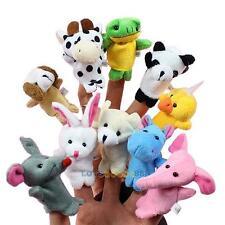 10PCS Baby Kids Cartoon Biological Animal Finger Puppet Plush Toys Favor Dolls