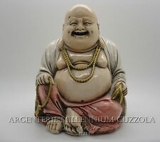 STATUA BUDDA DIPINTO SCULTURA HAPPY BUDDHA STATUE SCULPTURE VINTAGE HAND PAINTED