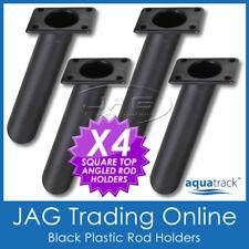 4 x SQUARE BLACK PLASTIC ANGLED FLUSH MOUNT FISHING BOAT ROD HOLDERS