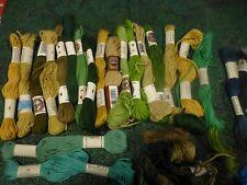 lote =algodón verde azul PUNTO DE CRUZ bordado==27 MADEJAS DMC recortes
