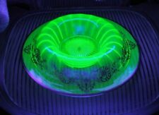 "RARE Exquisite VASELINE URANIUM GLASS Bowl or Base MARKED STERLING 11.25"" Across"