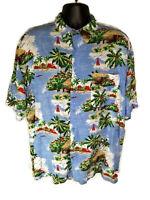 Puritan Mens Blue Tropical Islands Short Sleeve 100% Rayon Hawaiian Shirt XL