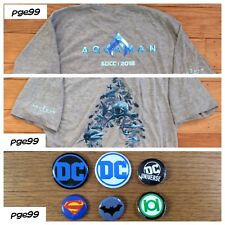 2018 SDCC NYCC Exclusive New DC Aquaman T shirt Men's size Med & 6 free DC pins