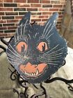 """1920s Vintage Repro Scared Cat Face,Fang Halloween Cardstock Decoration,7"""" OR 9"""""""