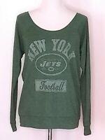 Junk Food Womens New York Jets Boat Neck Long Sleeve T-Shirt Top Size Medium