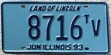 FREE UK POSTAGE June 1993 Illinois Land of Lincoln USA License Number Plate 8716