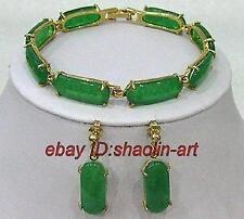 plaqué or vert jade  lien Boucles d'oreilles bracelet parure