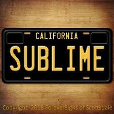Sublime Punk Rock Band California Vanity Aluminum License Plate Black