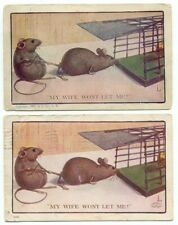 """Rat Mouse Mice Cage """"My Wife Won't Let Me Go"""" Lot of 2 Old Postcards"""