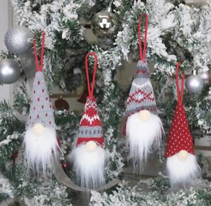 (4pk) Christmas Tree Decorations, Cute Scandinavian Style Faceless Gnomes