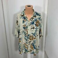 Campia Moda floral hawaiian aloha shirt mens xl rayon button hibiscus