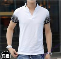 Summer Men T-Shirt V-Neck Short Sleeve Tees Tops Casual Cotton Basic Shirts Size