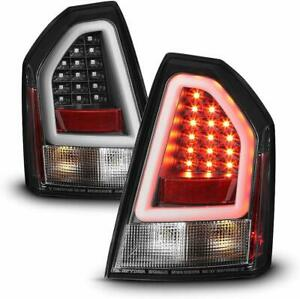 Fit Chrysler 08-10 300C Black LED Tube Tail Lights Brake Lamps Left & Right Set