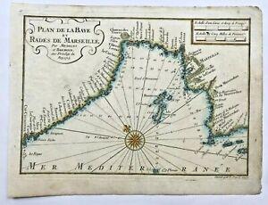 MARSEILLE FRANCE 1727 MICHELOT & BREMOND NICE ANTIQUE ENGRAVED SEA CHART