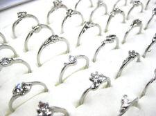 Fashion Wholesale Jewelry Mixed Lots 20pcs Women's Silver Plated Rhinestone Ring