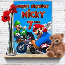 Extra Grande Super Mario Bros ** A4 tamaño personalizado de tarjeta de cumpleaños ** Nintendo