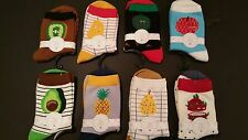 New Hot Women Men Colorful Cute Fruit Printed Cotton Ankle Crew Socks Lot Of 8