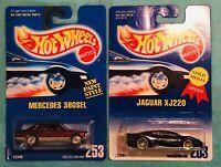 Hot Wheels Jaguar XJ220 Dark Metallic Blue Mercedes 380SEL New Paint Style Lot 2