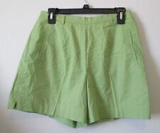 "Womens 4 ""& Trousers"" Brand Green Shorts Flat Front Stretch Cotton Zip Side EUC"