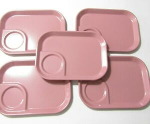 Vintage Rubbermaid #3850 Pink Melamine Cafeteria Lunch Tray Camping - Lot of 5