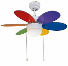 """Small indoor ceiling fan light with pull switch RAINBOW Multicolour 30"""" 76 cm"""