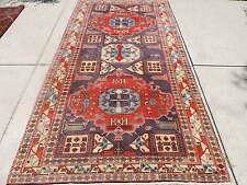 5x10ft. Persian Caucasian Design Geometric Wool Rug