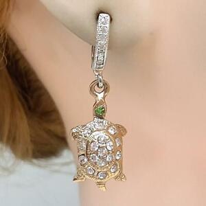 .50ct Diamond Cut White Sapphire&Chrome Diopside 14K Yellow Gold Silver Earrings