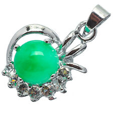 Chinese Emerald Green Jade Jadeite 18K White Gold Plated Flower Pendant #013