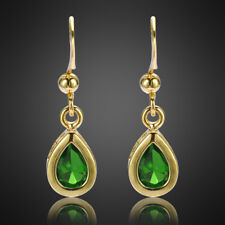 Fashion Jewelry Lady Green Emerald Yellow Gold Plated Dangle Drop Gift Earrings