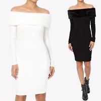 TheMogan Faux Fur Detail Off Shoulder Ribbed Knit Long Sleeve Bodycon Mini Dress