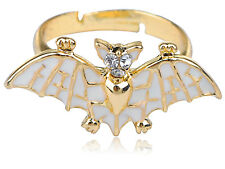 Golden Tone Petite Enamel Handpainted Flying Bat Night Creature Adj Fashion Ring