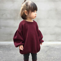 baby girls lantern long sleeve jumper hot sale best kids dress wine red Pullover